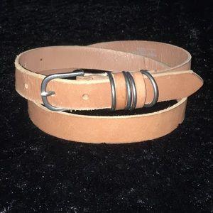 Accessories - Skinny Tan Leather Belt